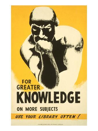 Library Poster with the Thinker