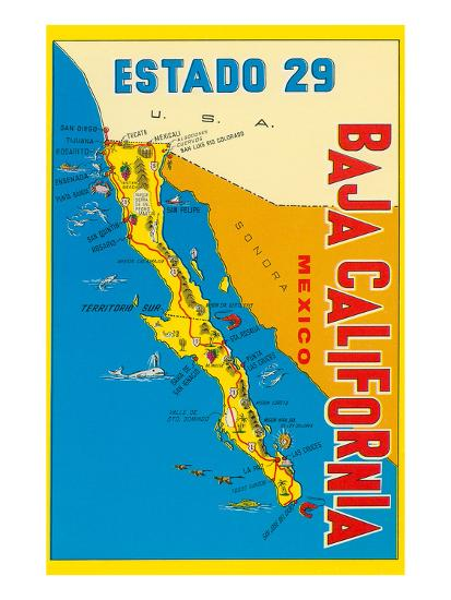Map Of Baja California Mexico Posters At Allposters Com