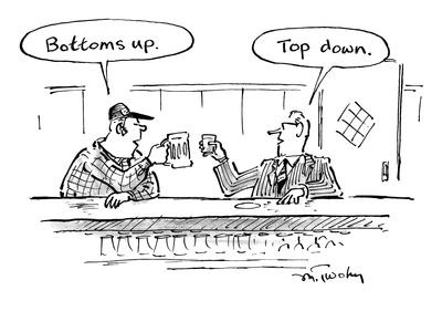"Two men in bar toasting their drinks, one says ""Bottoms up."" one says ""Top… - New Yorker Cartoon"