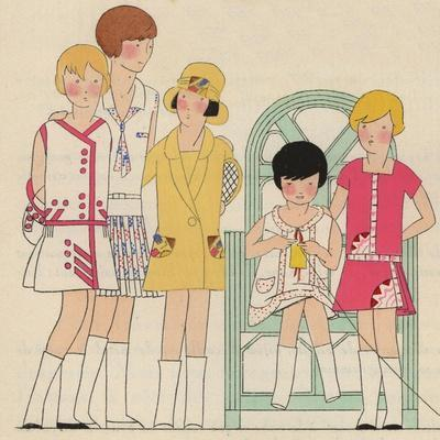 Children's Fashions: Girls' Summer Dresses in White, Pink and Yellow