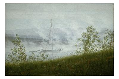 Ship on the Elbe in the Early Morning Fog