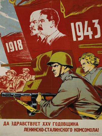 Russian Communist Poster, 1943