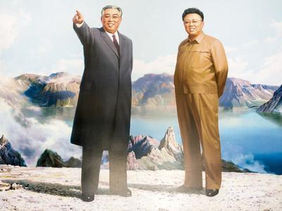 Painting of Kim Jong Il and Kim Il Sung, Pyongyang, Democratic People's Republic of Korea, N. Korea