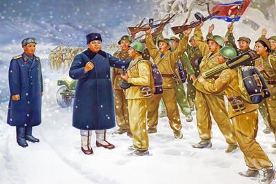 Wall Mural of Kim Il Sung, Pyongyang, Democratic People's Republic of Korea, N. Korea