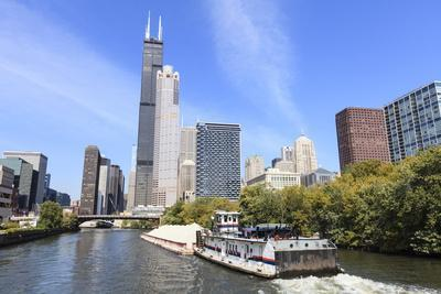 River Traffic on South Branch of Chicago River, Chicago, Illinois, USA