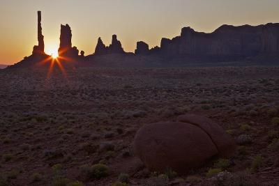 Sunrise over Totem Pole, Monument Valley Navajo Tribal Park, Utah, United States of America
