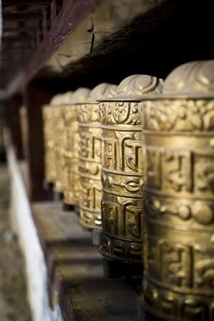 Buddhist Prayer Wheels, Namche Gompa (Monastery), Namche Bazaar, Solu Khumbu Region, Nepal