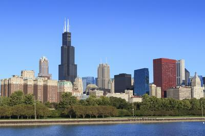 Chicago Skyline and Lake Michigan with the Willis Tower, Chicago, Illinois, USA