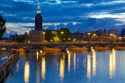 The City Hall at Night, Kungsholmen, Stockholm, Sweden, Scandinavia, Europe