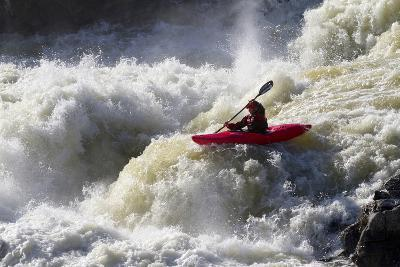 A Kayaker Big White Water Runs the Lower Section of Great Falls
