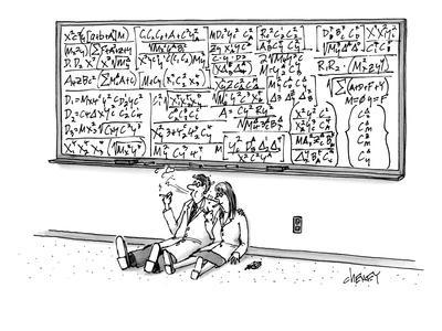 Two mathematicians sitting beneath a giant chalkboard smoking. - New Yorker Cartoon
