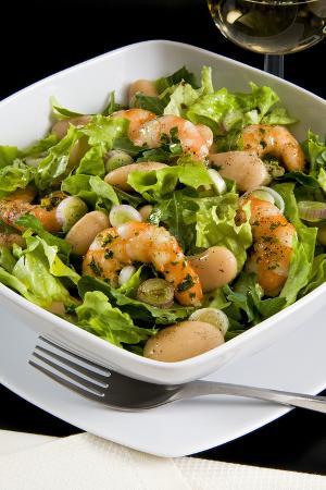 Salad with Shrimp, White Beans, Onions, Arugula, Cuisines