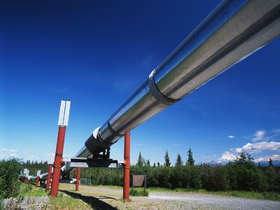 Trans Alaska Crude Oil Pipeline and Distant Mt Wrangell, Alaska, USA