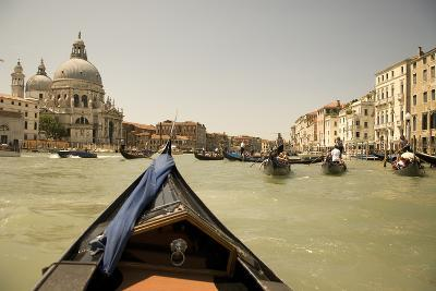 Tourist Ride in Gondolas on the Grand Canal in Venice, Italy