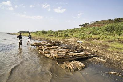 Fishing on Lake Chamo in Raft Made of Isoke Wood, Arba Minch, Ethiopia, Africa