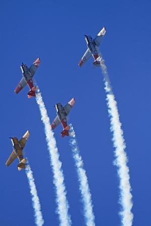 Aerobatic Display by North American Harvards, or T-6 Texans, or SNJ, Airshow