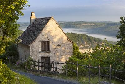 Morning Mist Along River Lot, Cottage in Saint Cirq Lapopie, Midi-Pyrenees France