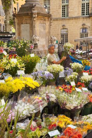 Man Selling Flowers on Market Day in Aix-En-Provence, France