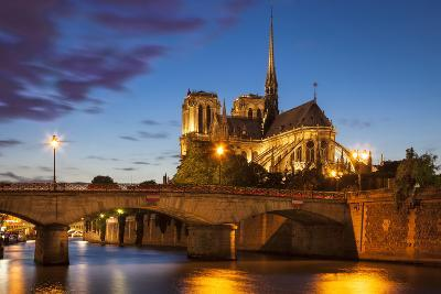 Twilight over Cathedral Notre Dame and River Seine, Paris, France