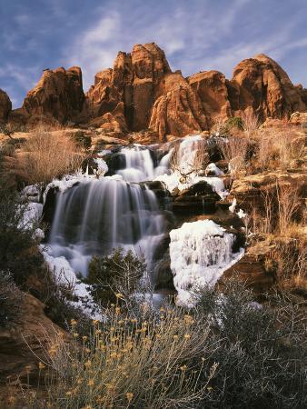 View of Frozen Waterfall of Mill Creek, Spanish Valley, Utah, USA