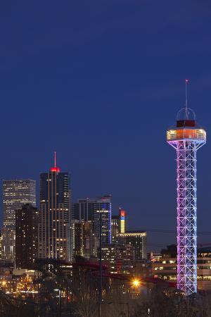 City Skyline Dusk with Elitch Gardens Theme Park Tower, Denver, Colorado, USA