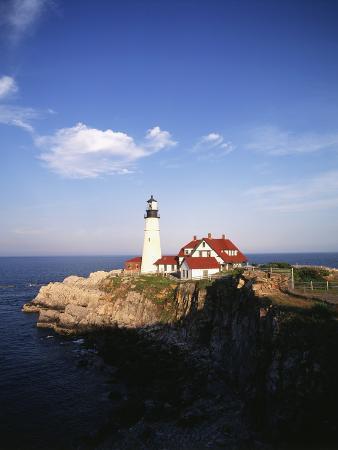 View of Lighthouse, Cape Elizabeth, Portland, Maine, USA