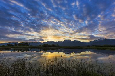 Pond Reflects the Mission Mountains, Ninepipe, Mission Valley, Montana, USA