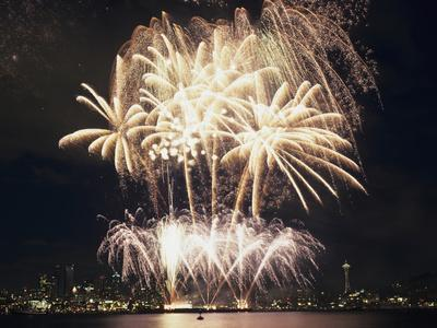 Fireworks on July 4th, at Gasworks Park; Space Needle in Background, Seattle, Washington, USA