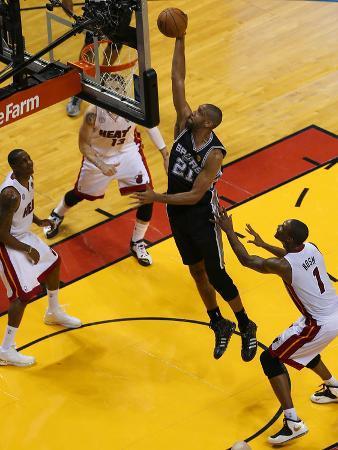 Miami, FL - JUNE 9 Tim Duncan and Chris Bosh