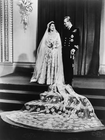 Princess Elizabeth and Prince Philip in a Full-Length Wedding Portrait, 1947