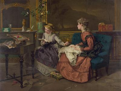 Domestic Scene with Two Girls, One Reading to Another who Sews, 1873