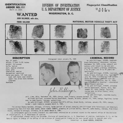 Wanted Poster for John Dillinger, 1934