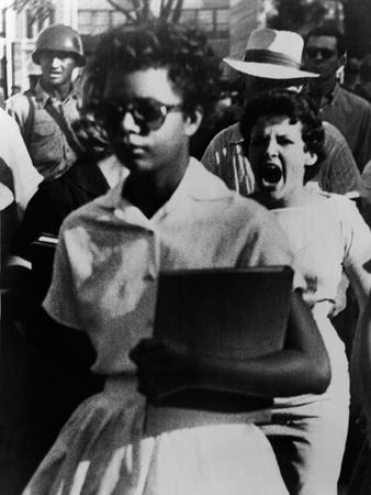 Elizabeth Eckford Is Harassed as She Enters Little Rock Central High, Sept 6, 1957