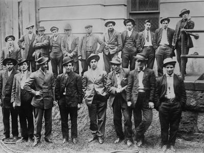 Some of 100 Italian and Slavic Coal Miners Arrested Following a Strike Riot, 1915