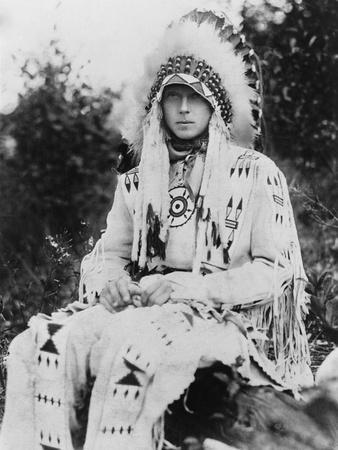 Britain's Prince of Wales Wearing a Native American Headdress, in the Early 1920s