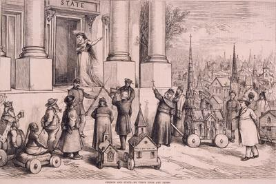 Thomas Nast Cartoon, Shows Priests Threatening the Doorway of the 'State'