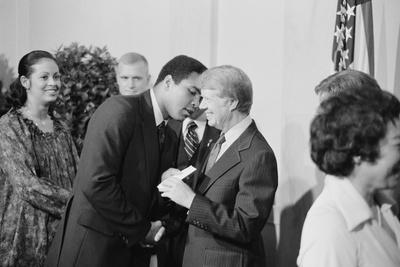 President Jimmy Carter Greets Mohammed Ali at a White House Dinner, Sept. 7, 1978