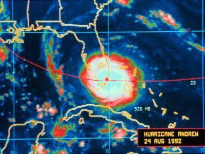 Infrared Image of Hurricane Andrew Crossing the Florida Coast on August 24, 1992