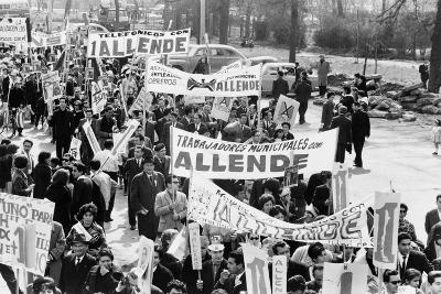 Demonstrators Marching to Support of Socialist Salvador Allende in 1964