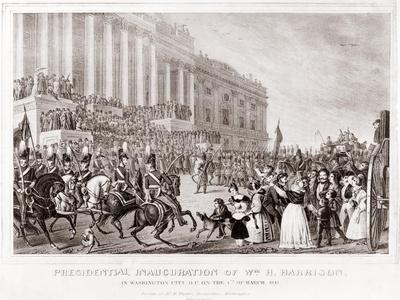 Inauguration of President William Harrison in Washington City D.C. on March 4 1841