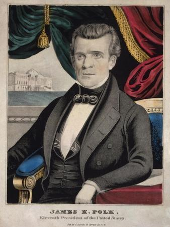 James Polk, President of the United States, Lithograph by Charles Currier, Ca. 1845