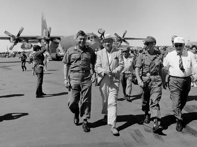 Bob Hope, Walks with Generals at Pleiku Air Base, South Vietnam, Dec. 19, 1966