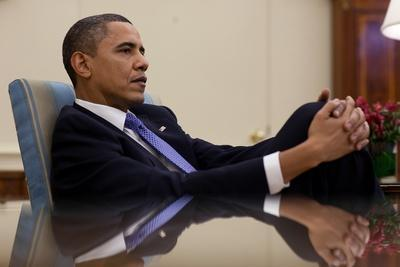 President Barack Obama Leans Back During a Meeting in the Oval Office, Feb. 22, 2010