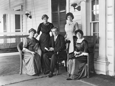 Woodrow Wilson with His First Wife Ellen Louise Axson and Three Daughters, 1912