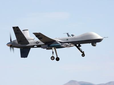 MQ-9 Reaper Drone on a Training Mission Above Creech Air Force Base, Aug. 2008