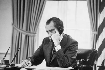 Richard Nixon on the Phone in the Oval Office, Ca. 1969-74