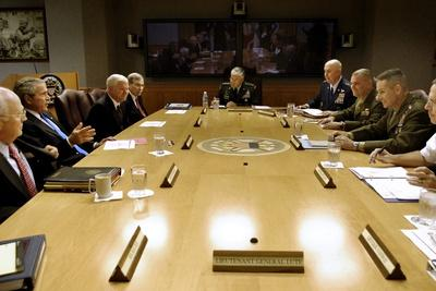 Bush Administration Meets with Military Commanders at the Pentagon, Aug. 2007