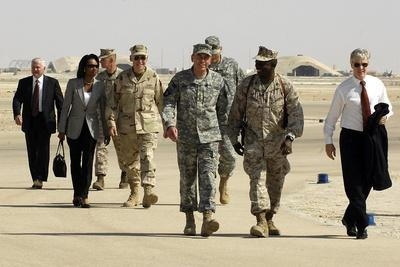 US Officials and Pres. Bush at Al Asad AFB, for Meeting with Iraqis, Sept. 2007
