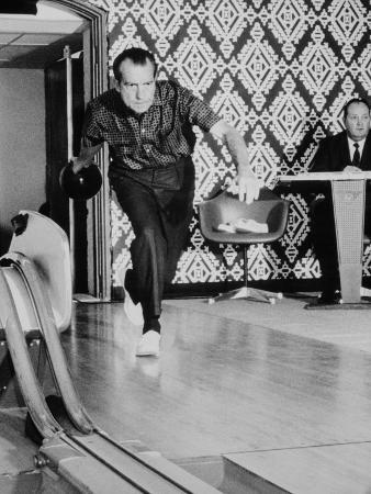 Richard Nixon Bowling at the White House Bowling Alley, 1970