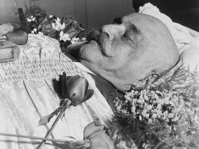 George Ivanovich Gurdjieff (1866-1949), a Greek-Armenian Mystic, in His Coffin, October 1949